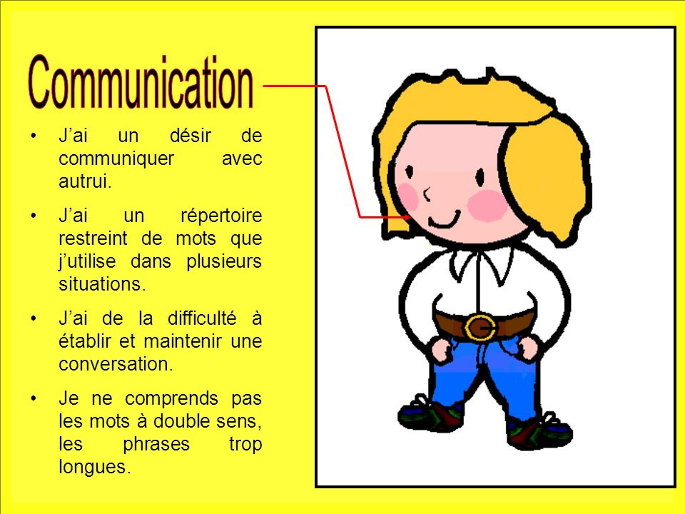 5 Jai un désir de communiquer avec autrui. Jai un répertoire restreint de mots que jutilise dans plusieurs situations. Jai de la difficulté à établir