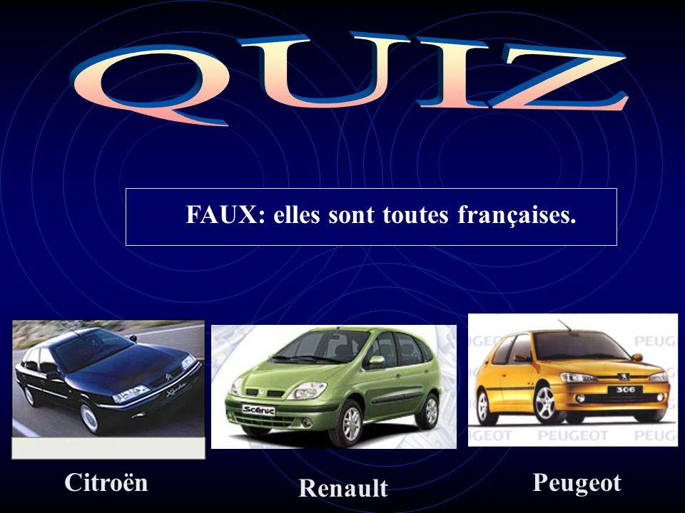 Une de ces voitures nest pas dorigine française: VRAI ou FAUX