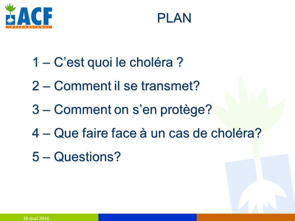 18 mai 2014 PLAN 1 – Cest quoi le choléra ? 2 – Comment il se transmet? 3 – Comment on sen protège? 4 – Que faire face à un cas de choléra? 5 – Questi