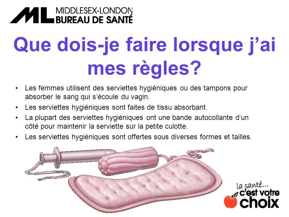 Que dois-je faire lorsque jai mes règles? Les femmes utilisent des serviettes hygiéniques ou des tampons pour absorber le sang qui sécoule du vagin. L