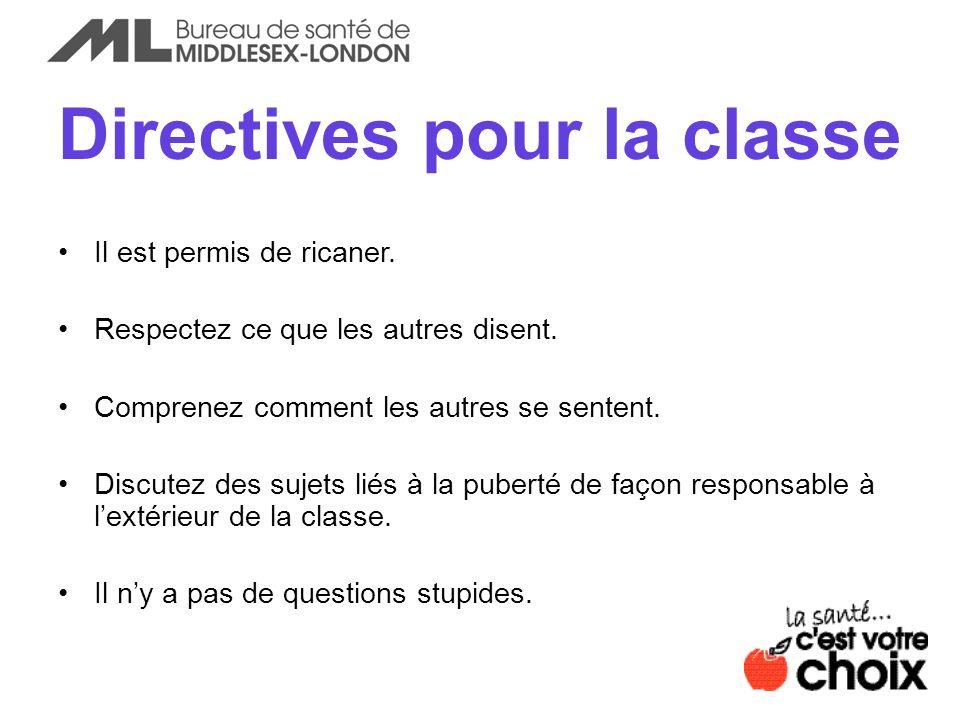 Directives pour la classe Il est permis de ricaner. Respectez ce que les autres disent. Comprenez comment les autres se sentent. Discutez des sujets l