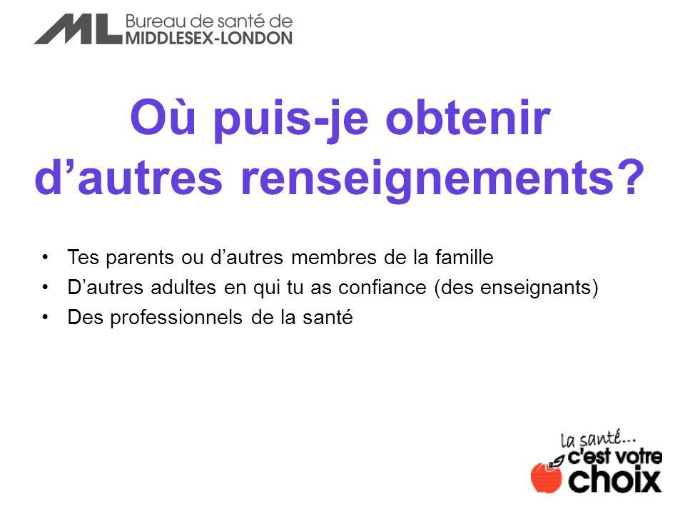 Où puis-je obtenir dautres renseignements? Tes parents ou dautres membres de la famille Dautres adultes en qui tu as confiance (des enseignants) Des p