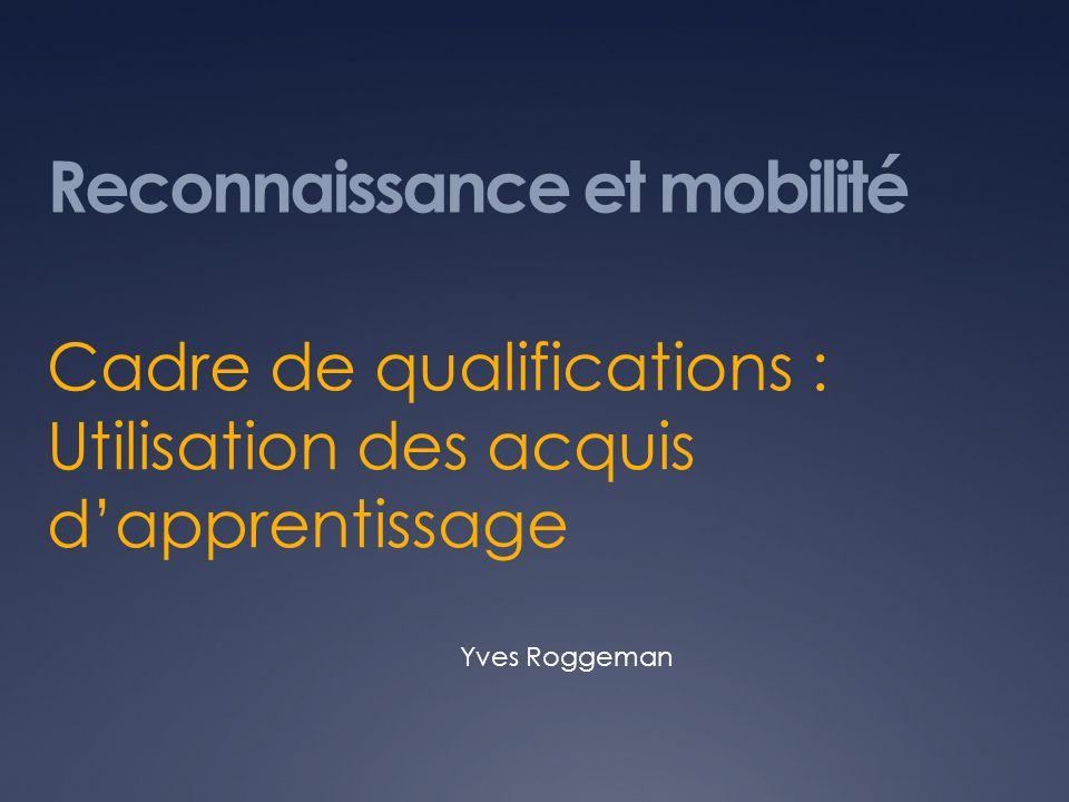 Reconnaissance et mobilité Cadre de qualifications : Utilisation des acquis dapprentissage Yves Roggeman