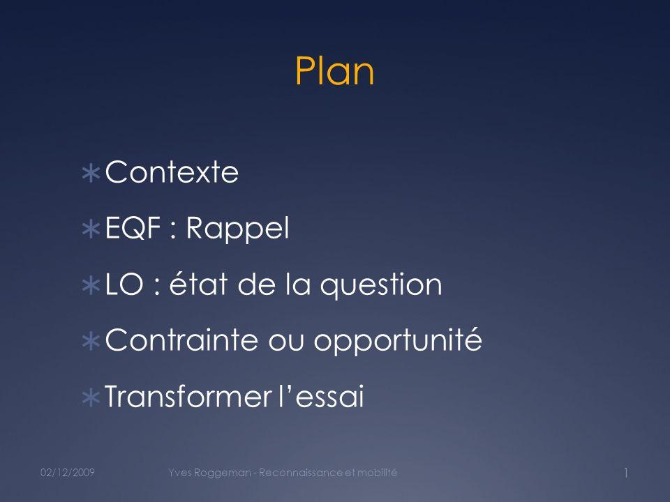 Plan Contexte EQF : Rappel LO : état de la question Contrainte ou opportunité Transformer lessai 02/12/2009Yves Roggeman - Reconnaissance et mobilité 1