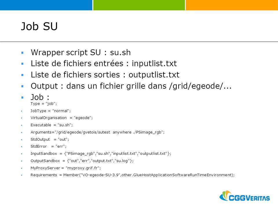 Job SU Wrapper script SU : su.sh Liste de fichiers entrées : inputlist.txt Liste de fichiers sorties : outputlist.txt Output : dans un fichier grille dans /grid/egeode/...