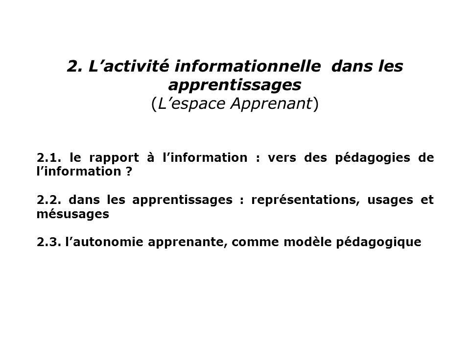2. Lactivité informationnelle dans les apprentissages (Lespace Apprenant) 2.1. le rapport à linformation : vers des pédagogies de linformation ? 2.2.