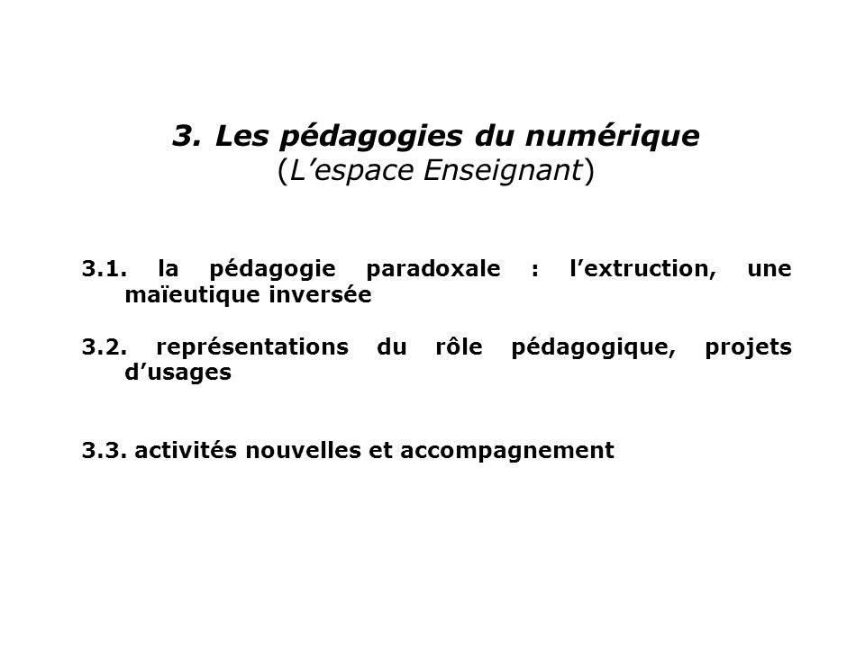 3.Les pédagogies du numérique (Lespace Enseignant) 3.1. la pédagogie paradoxale : lextruction, une maïeutique inversée 3.2. représentations du rôle pé