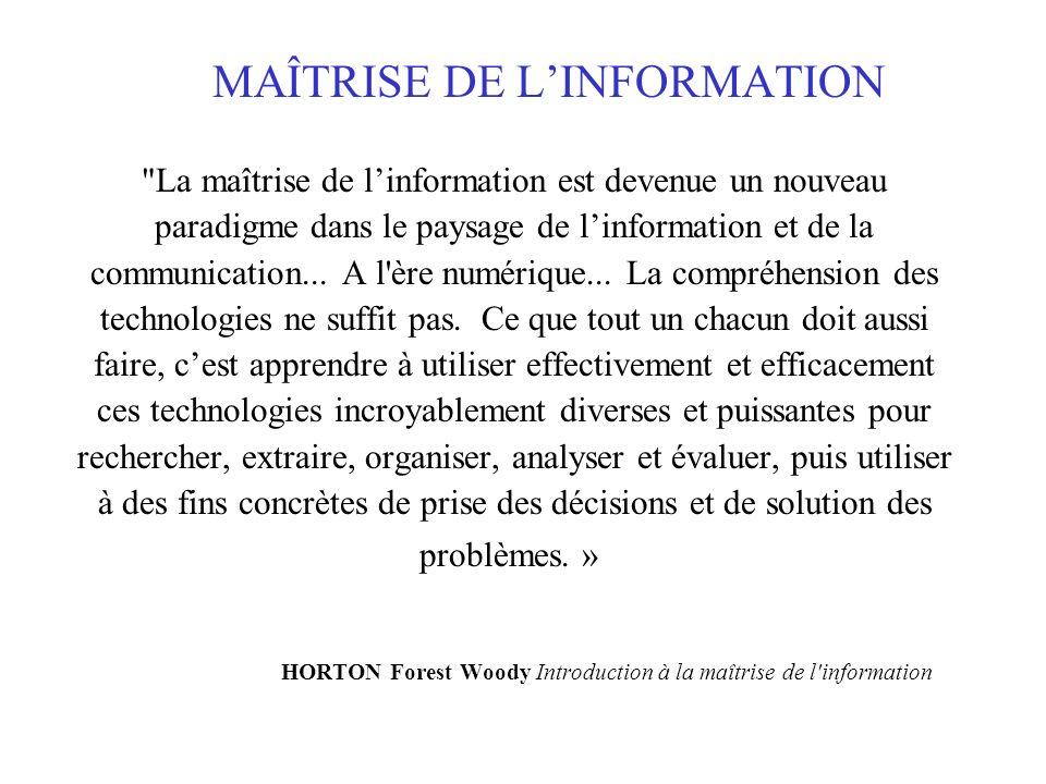 MAÎTRISE DE LINFORMATION