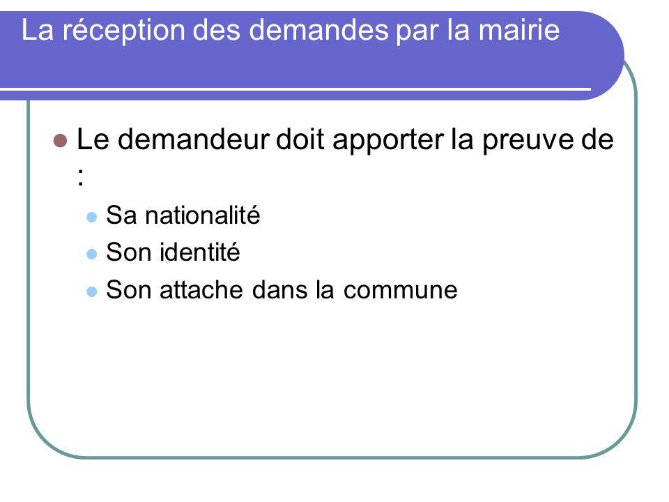 La réception des demandes par la mairie Le demandeur doit apporter la preuve de : Sa nationalité Son identité Son attache dans la commune