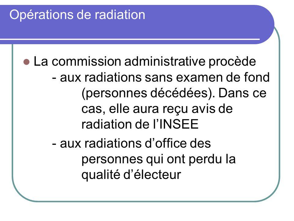 Opérations de radiation La commission administrative procède - aux radiations sans examen de fond (personnes décédées). Dans ce cas, elle aura reçu av