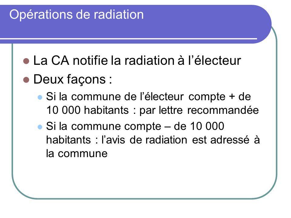Opérations de radiation La CA notifie la radiation à lélecteur Deux façons : Si la commune de lélecteur compte + de 10 000 habitants : par lettre recommandée Si la commune compte – de 10 000 habitants : lavis de radiation est adressé à la commune