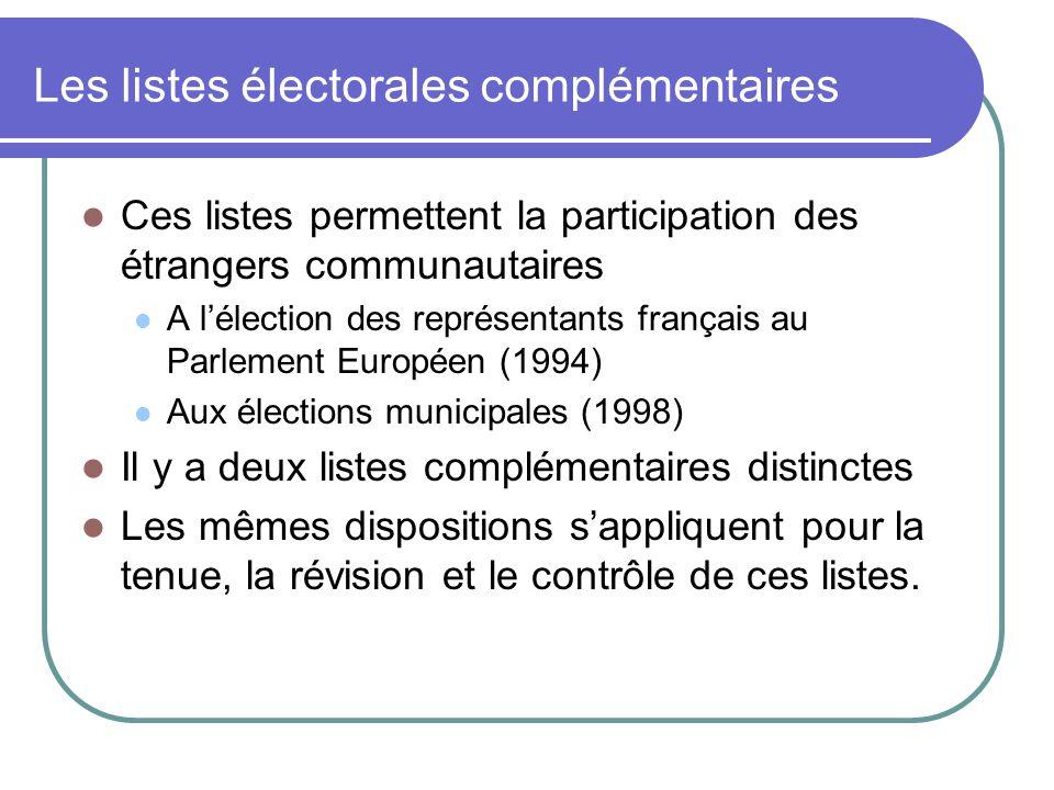 Les listes électorales complémentaires Ces listes permettent la participation des étrangers communautaires A lélection des représentants français au Parlement Européen (1994) Aux élections municipales (1998) Il y a deux listes complémentaires distinctes Les mêmes dispositions sappliquent pour la tenue, la révision et le contrôle de ces listes.
