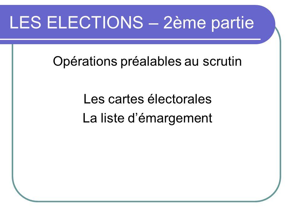LES ELECTIONS – 2ème partie Opérations préalables au scrutin Les cartes électorales La liste démargement