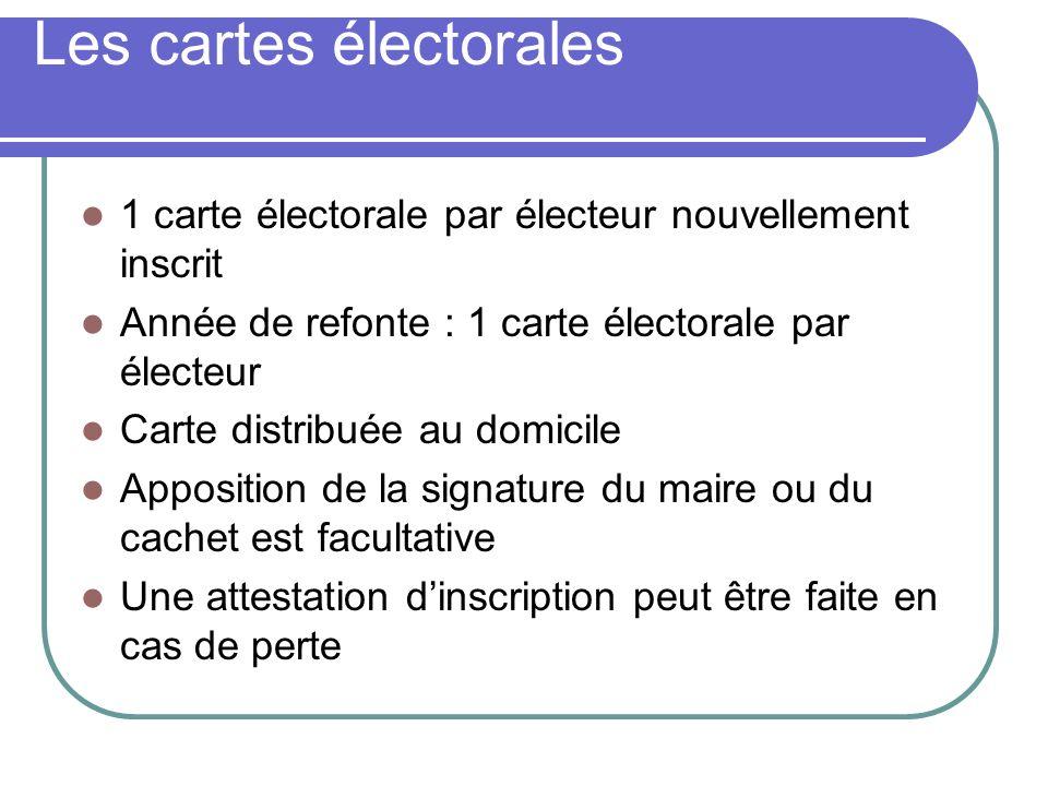 Les cartes électorales 1 carte électorale par électeur nouvellement inscrit Année de refonte : 1 carte électorale par électeur Carte distribuée au domicile Apposition de la signature du maire ou du cachet est facultative Une attestation dinscription peut être faite en cas de perte