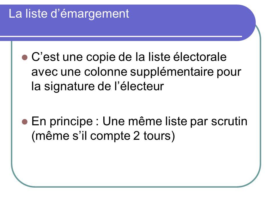 La liste démargement Cest une copie de la liste électorale avec une colonne supplémentaire pour la signature de lélecteur En principe : Une même liste par scrutin (même sil compte 2 tours)