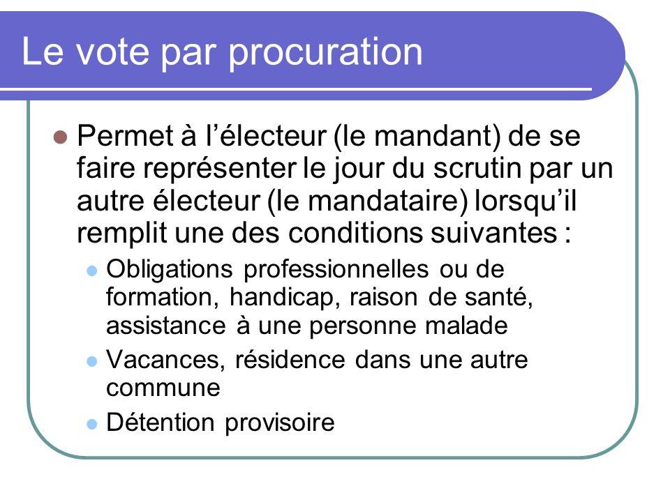 Le vote par procuration Permet à lélecteur (le mandant) de se faire représenter le jour du scrutin par un autre électeur (le mandataire) lorsquil remp