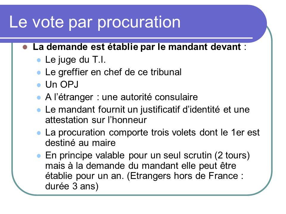 Le vote par procuration La demande est établie par le mandant devant : Le juge du T.I.