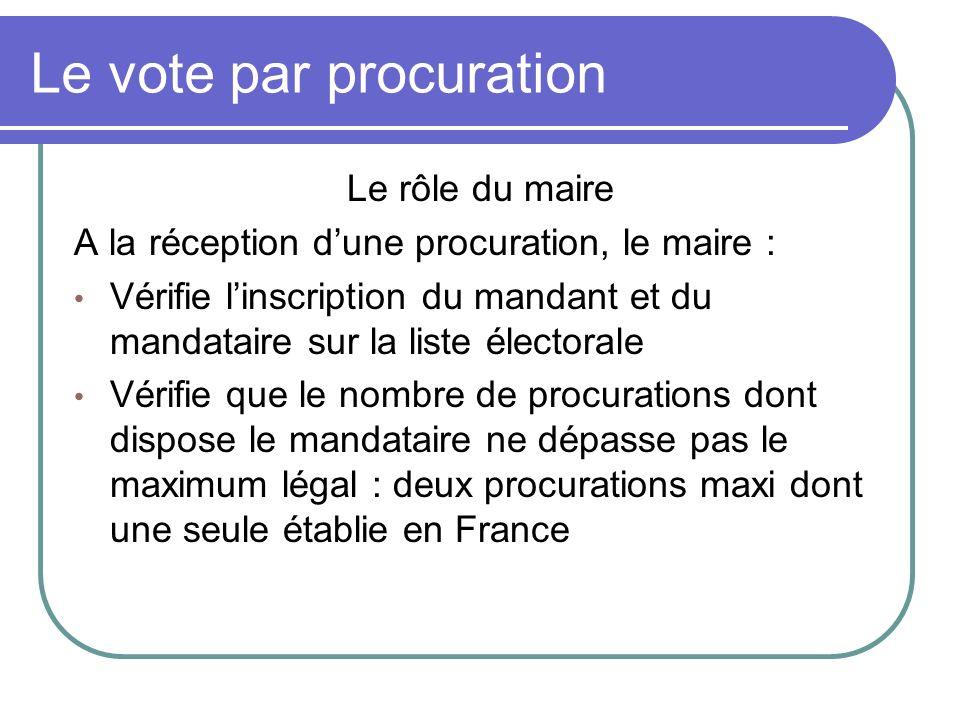 Le vote par procuration Le rôle du maire A la réception dune procuration, le maire : Vérifie linscription du mandant et du mandataire sur la liste éle