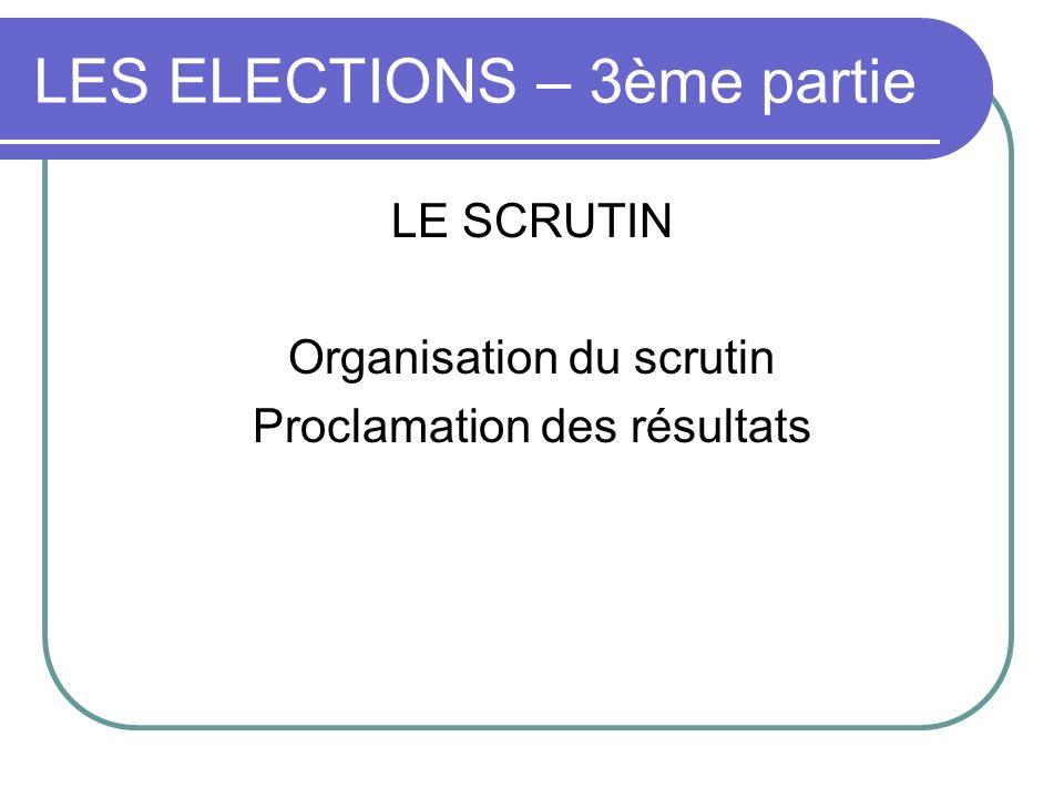 LES ELECTIONS – 3ème partie LE SCRUTIN Organisation du scrutin Proclamation des résultats