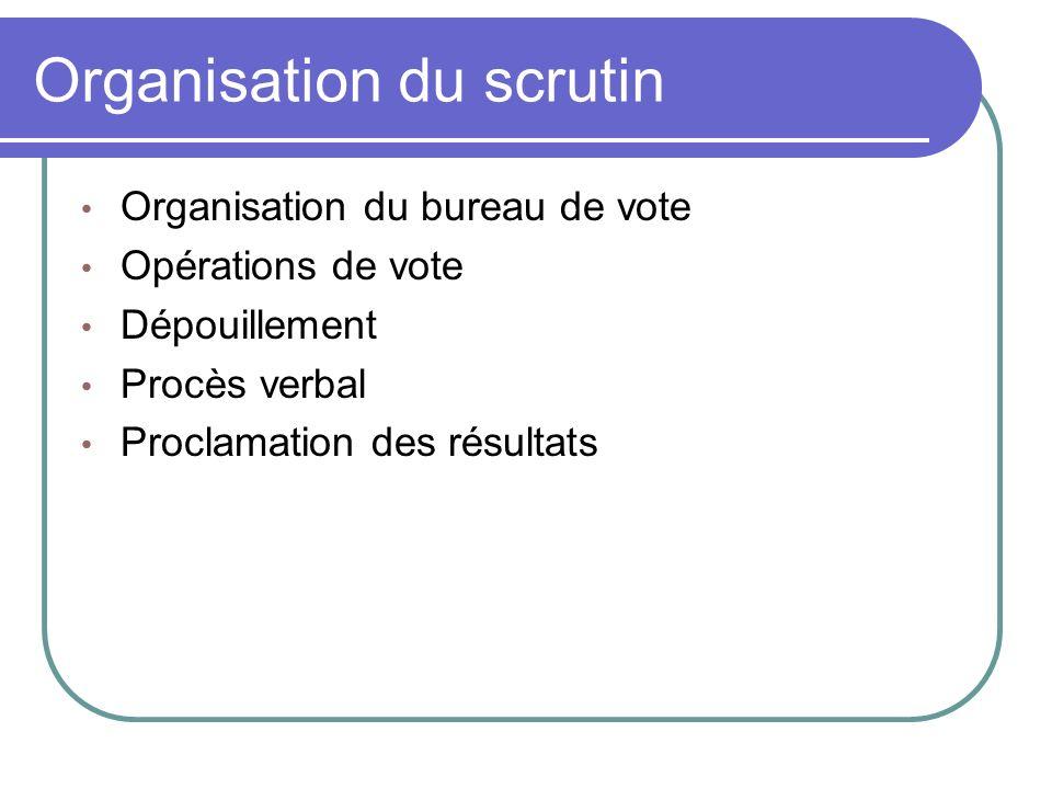 Organisation du scrutin Organisation du bureau de vote Opérations de vote Dépouillement Procès verbal Proclamation des résultats