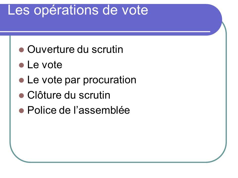 Les opérations de vote Ouverture du scrutin Le vote Le vote par procuration Clôture du scrutin Police de lassemblée