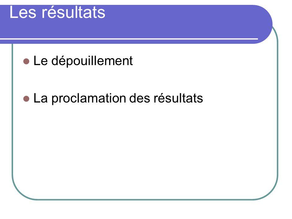Les résultats Le dépouillement La proclamation des résultats