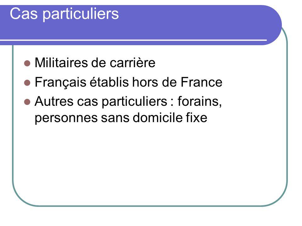 Cas particuliers Militaires de carrière Français établis hors de France Autres cas particuliers : forains, personnes sans domicile fixe