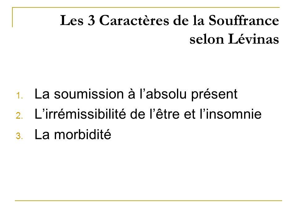 Les 3 Caractères de la Souffrance selon Lévinas 1. La soumission à labsolu présent 2. Lirrémissibilité de lêtre et linsomnie 3. La morbidité