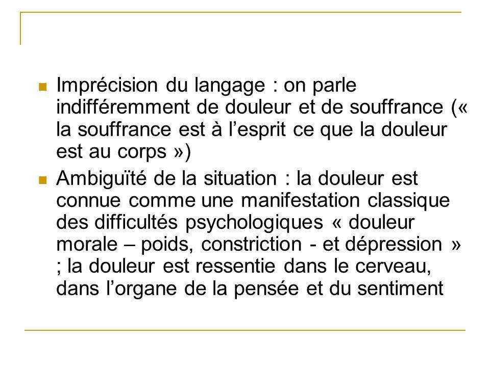 Imprécision du langage : on parle indifféremment de douleur et de souffrance (« la souffrance est à lesprit ce que la douleur est au corps ») Ambiguït