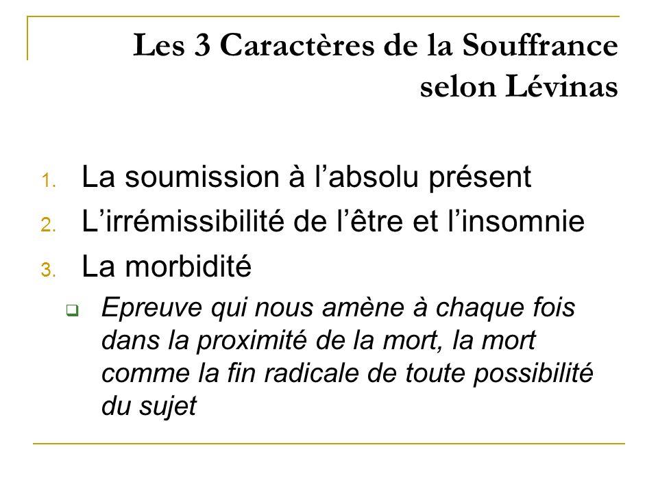 Les 3 Caractères de la Souffrance selon Lévinas 1. La soumission à labsolu présent 2. Lirrémissibilité de lêtre et linsomnie 3. La morbidité Epreuve q