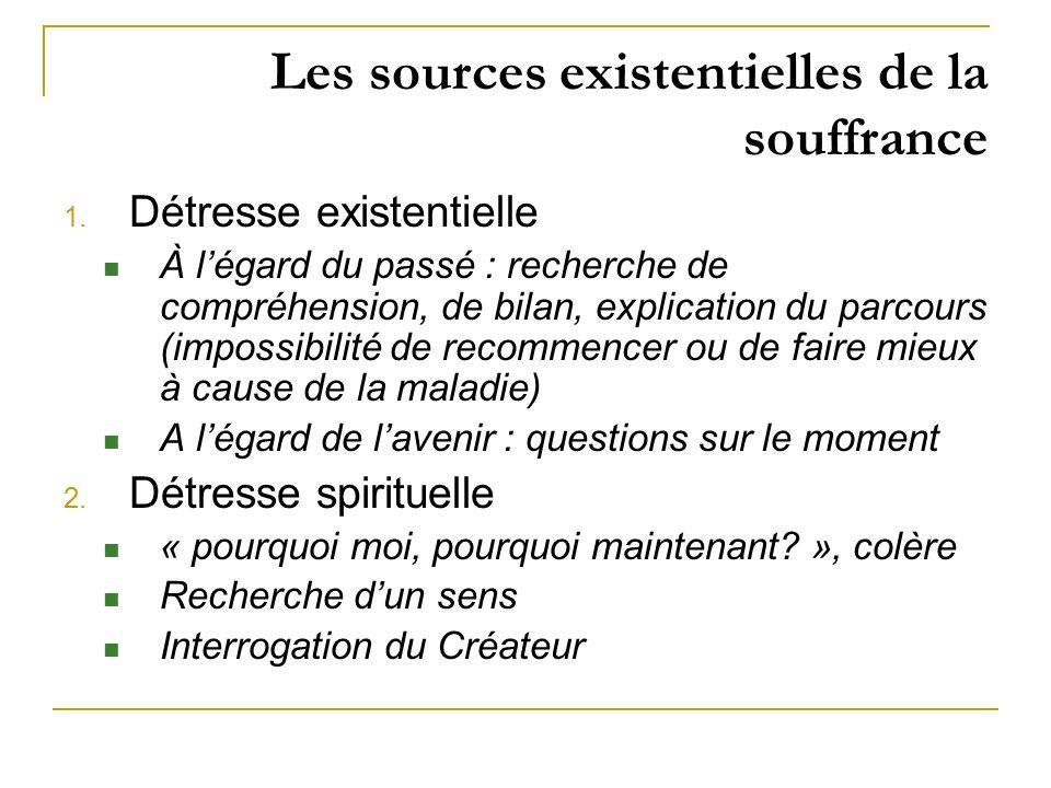 Les sources existentielles de la souffrance 1. Détresse existentielle À légard du passé : recherche de compréhension, de bilan, explication du parcour