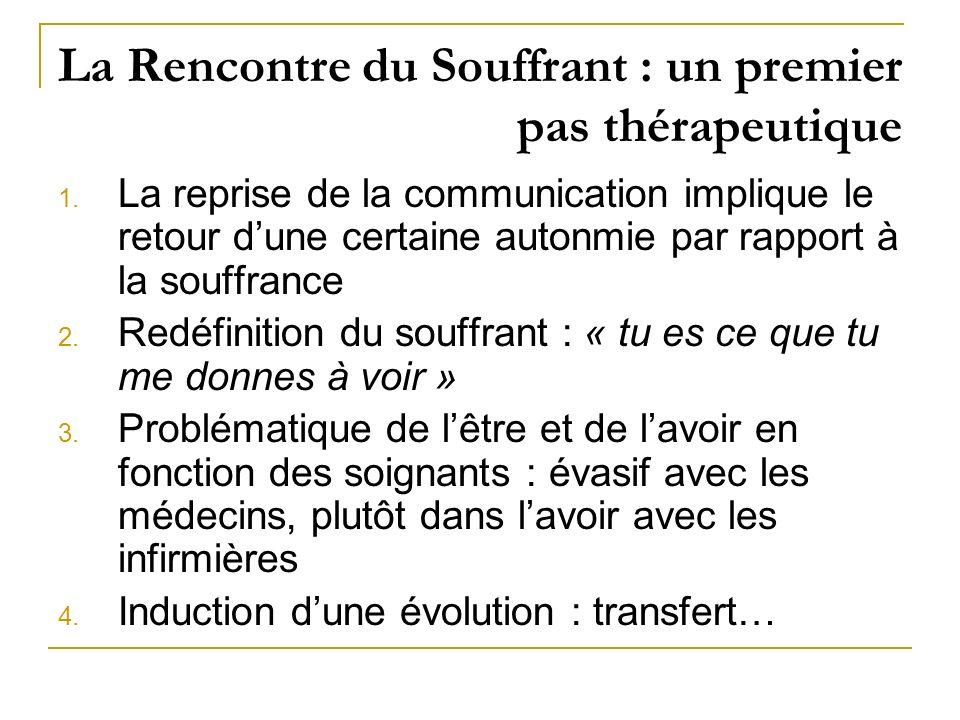 La Rencontre du Souffrant : un premier pas thérapeutique 1. La reprise de la communication implique le retour dune certaine autonmie par rapport à la