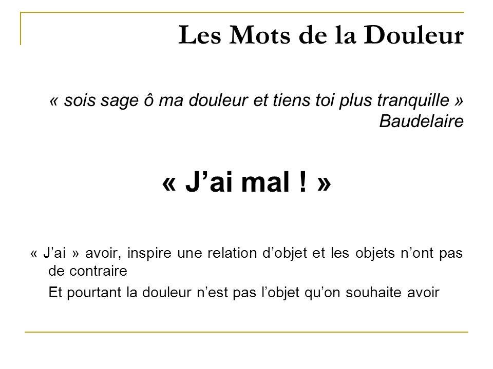 Les Mots de la Douleur « sois sage ô ma douleur et tiens toi plus tranquille » Baudelaire « Jai mal ! » « Jai » avoir, inspire une relation dobjet et