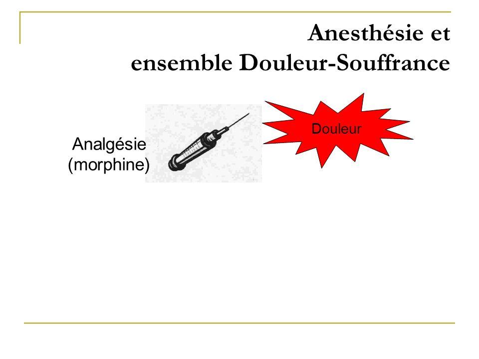 Anesthésie et ensemble Douleur-Souffrance Douleur Analgésie (morphine)
