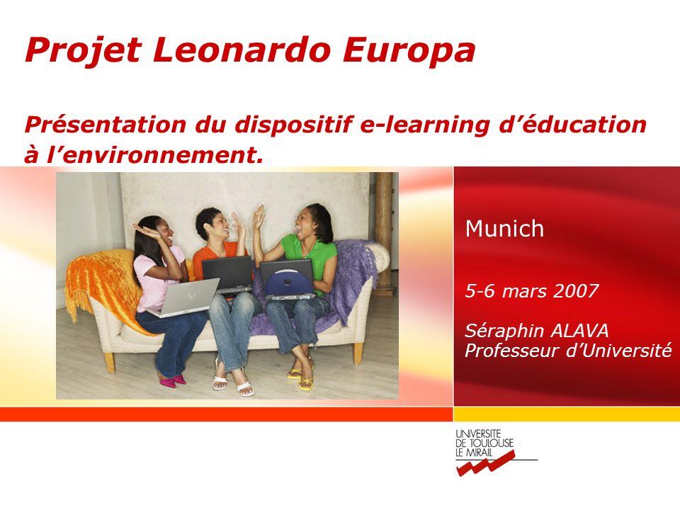 Projet Leonardo Europa Présentation du dispositif e-learning déducation à lenvironnement.