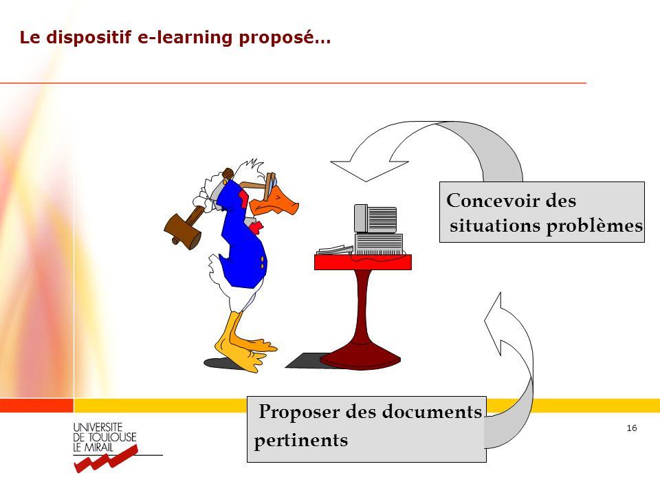 Séraphin ALAVA – alava@wanadoo.fr 16 Proposer des documents pertinents Le dispositif e-learning proposé… Concevoir des situations problèmes