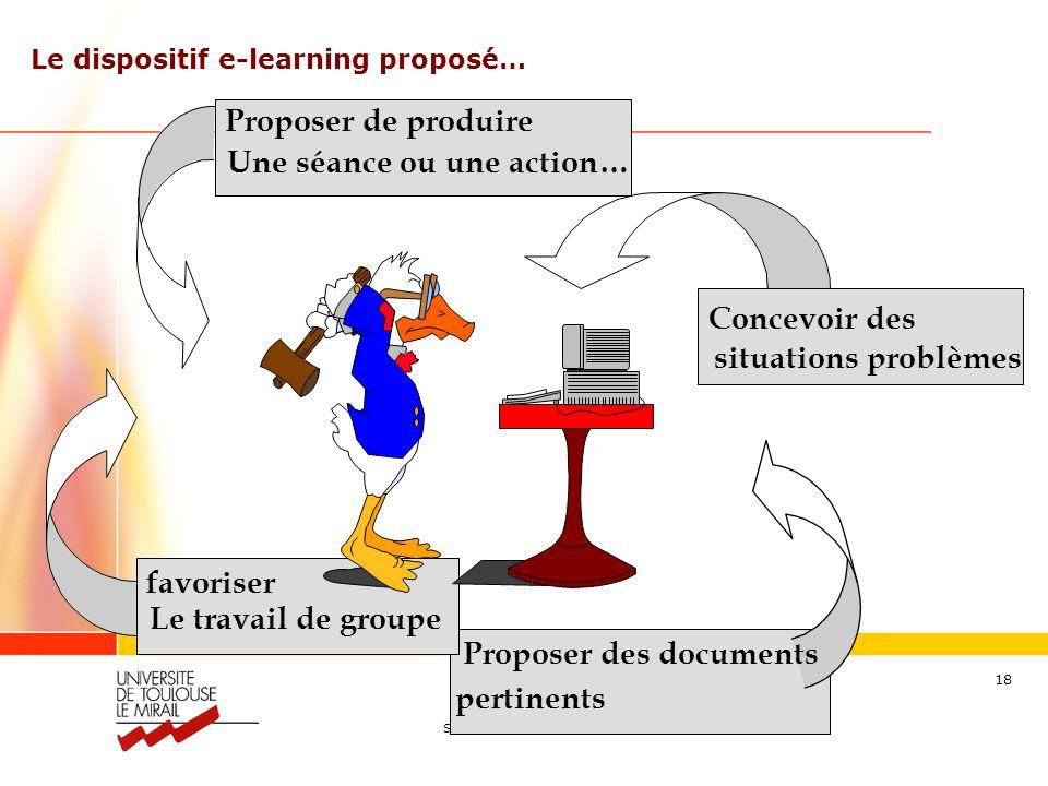 Séraphin ALAVA – alava@wanadoo.fr 18 favoriser Le travail de groupe Le dispositif e-learning proposé… Proposer des documents pertinents Concevoir des situations problèmes Proposer de produire Une séance ou une action…