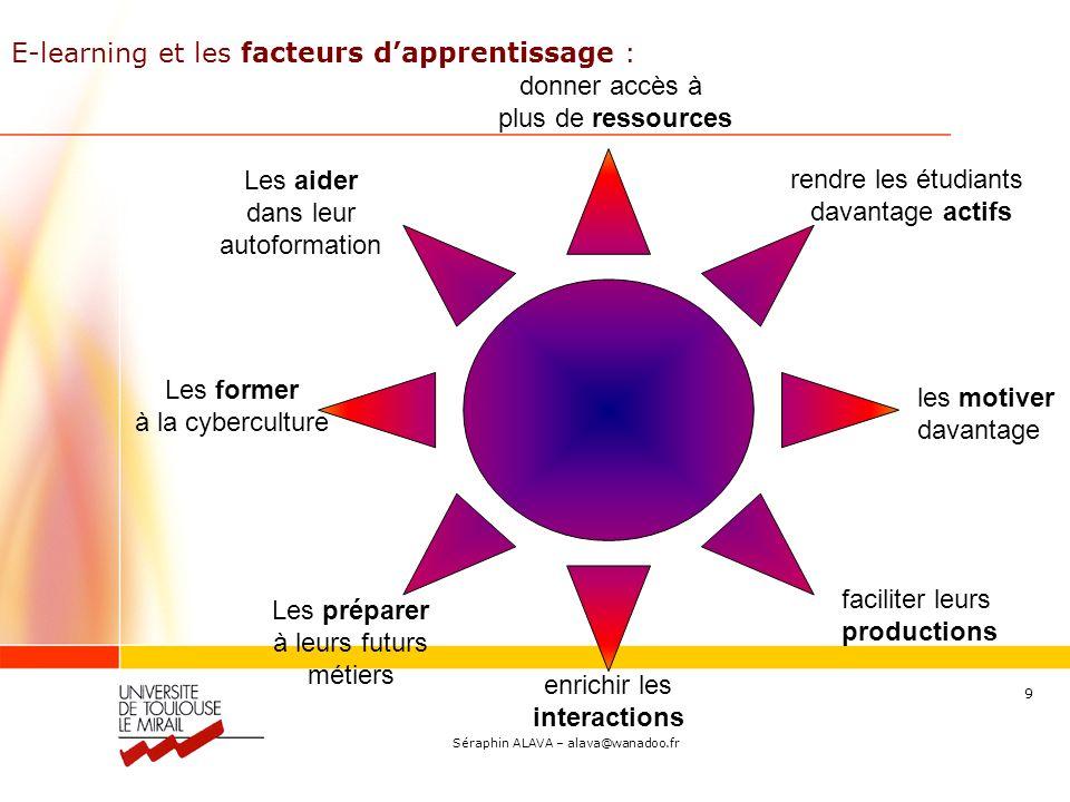 Séraphin ALAVA – alava@wanadoo.fr 10 E-learning : pour un apprenant autonome..