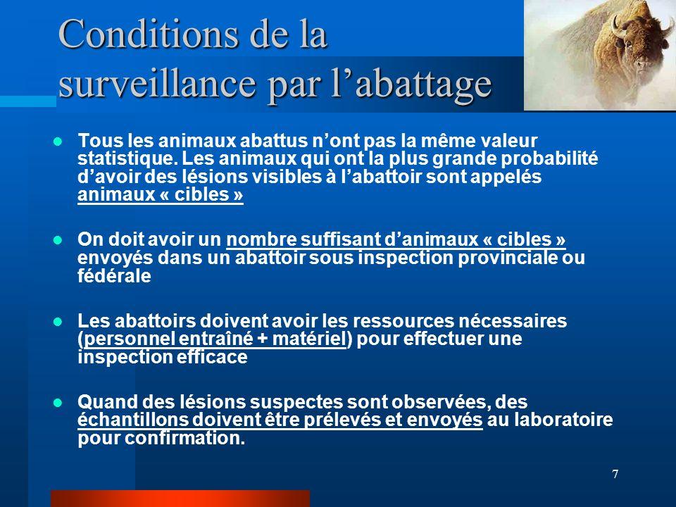 7 Conditions de la surveillance par labattage Tous les animaux abattus nont pas la même valeur statistique.