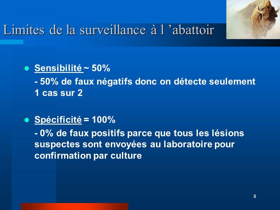 8 Limites de la surveillance à l abattoir Sensibilité ~ 50% - 50% de faux négatifs donc on détecte seulement 1 cas sur 2 Spécificité = 100% - 0% de faux positifs parce que tous les lésions suspectes sont envoyées au laboratoire pour confirmation par culture
