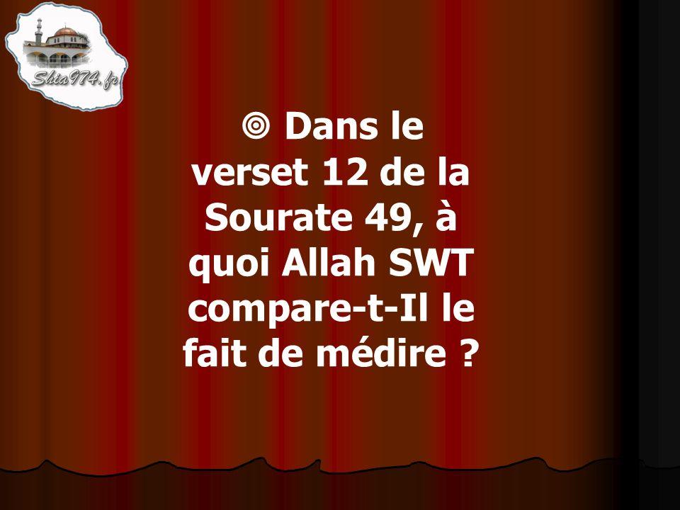 Dans le verset 12 de la Sourate 49, à quoi Allah SWT compare-t-Il le fait de médire