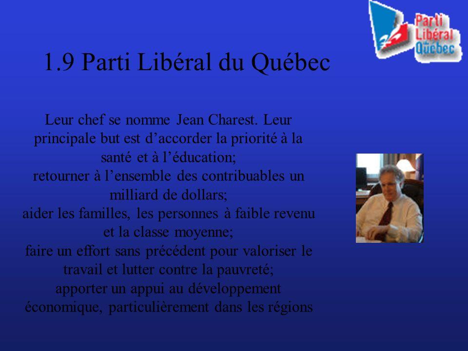 1.9 Parti Libéral du Québec Leur chef se nomme Jean Charest.