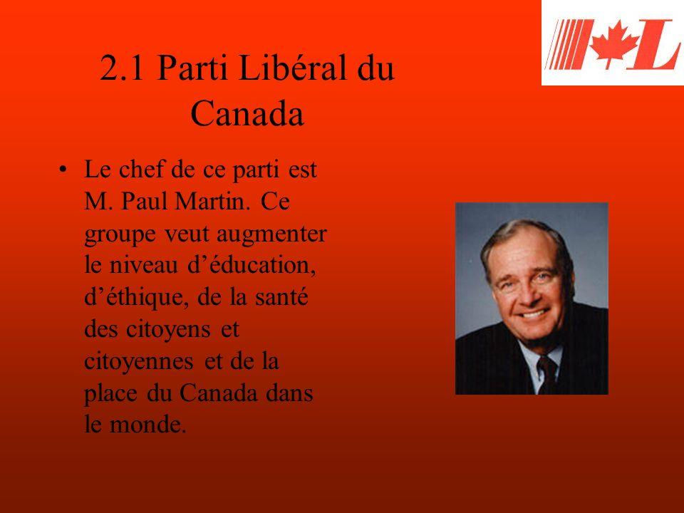 2.1 Parti Libéral du Canada Le chef de ce parti est M.