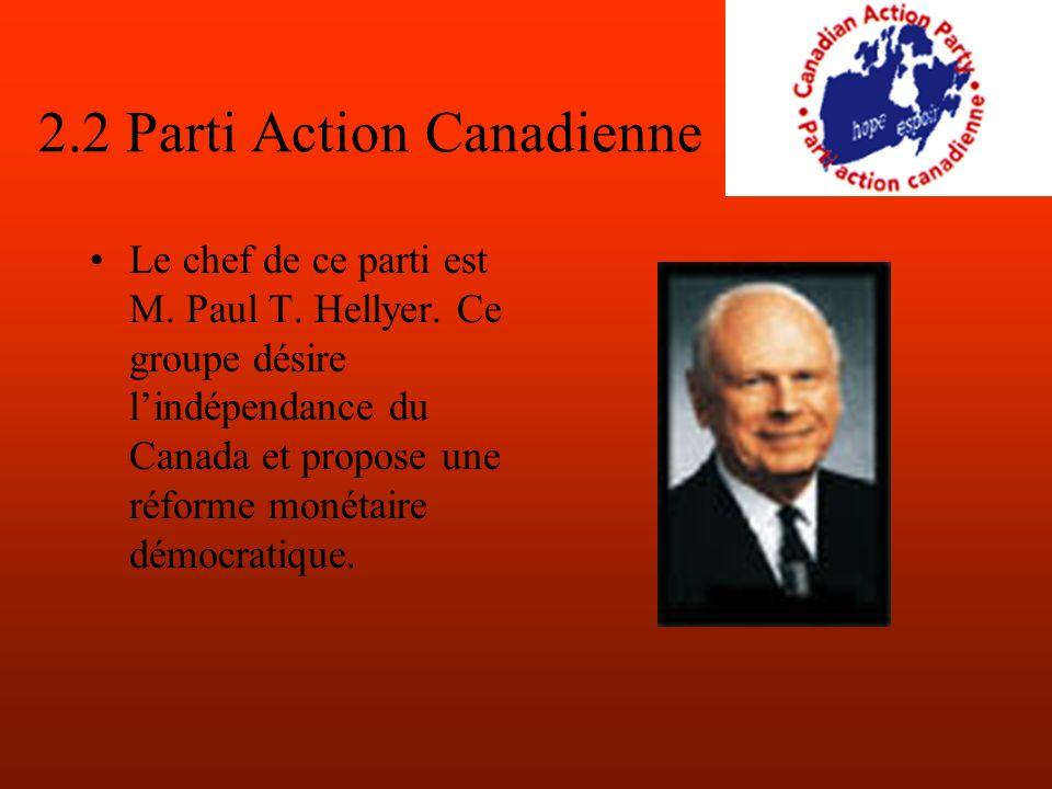 2.2 Parti Action Canadienne Le chef de ce parti est M.