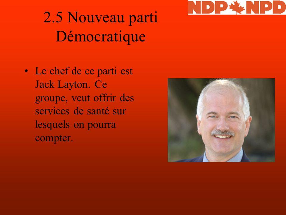 2.5 Nouveau parti Démocratique Le chef de ce parti est Jack Layton.