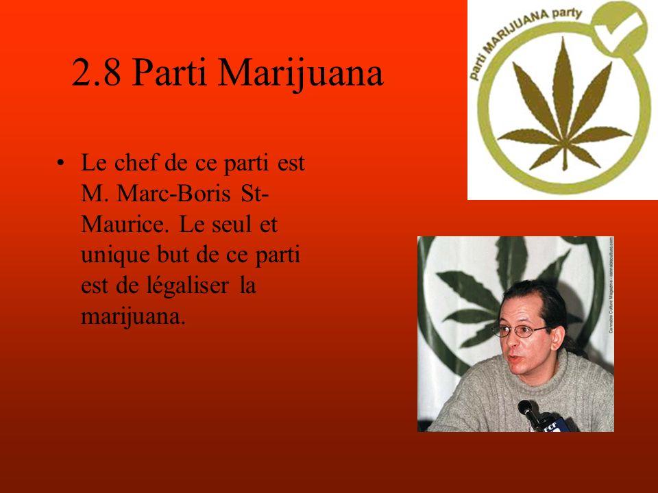 2.8 Parti Marijuana Le chef de ce parti est M. Marc-Boris St- Maurice.