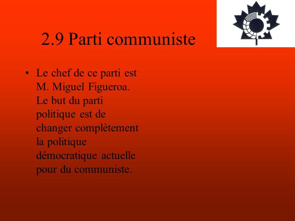 2.9 Parti communiste Le chef de ce parti est M. Miguel Figueroa.