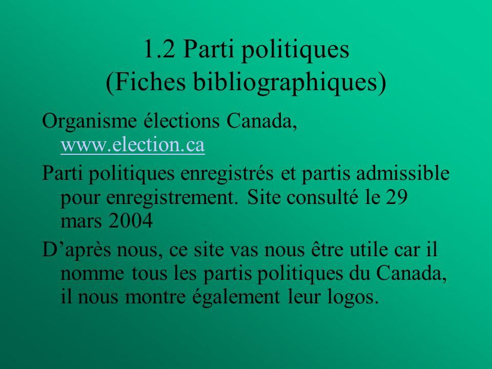 1.2 Parti politiques (Fiches bibliographiques) Organisme élections Canada, www.election.ca www.election.ca Parti politiques enregistrés et partis admissible pour enregistrement.