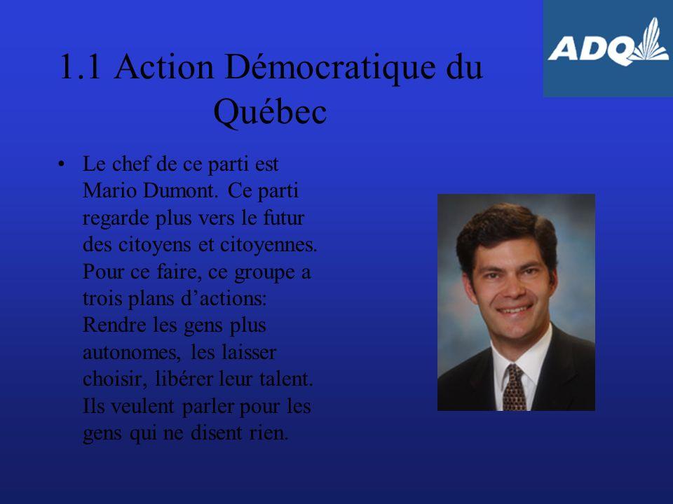 2.3 Bloc Québécois Le chef de ce parti est Monsieur Gilles Duceppe.