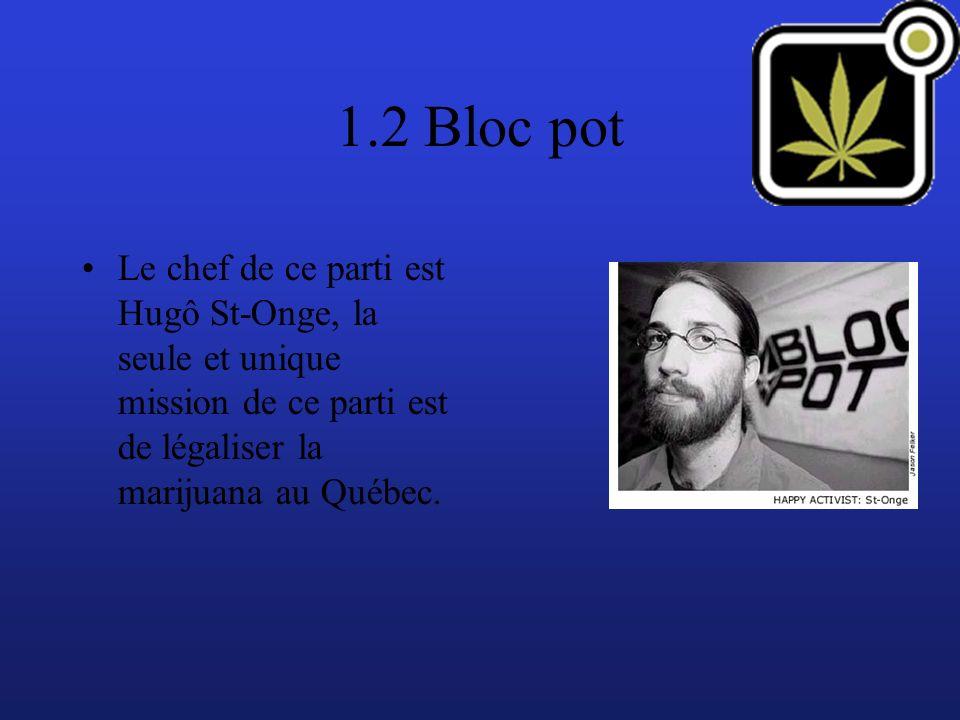 1.2 Bloc pot Le chef de ce parti est Hugô St-Onge, la seule et unique mission de ce parti est de légaliser la marijuana au Québec.
